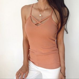 Criss-cross ribbed tank top